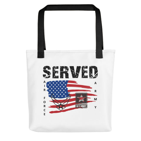 """SERVED ARMY-AIR FORCE""  Tote bag"