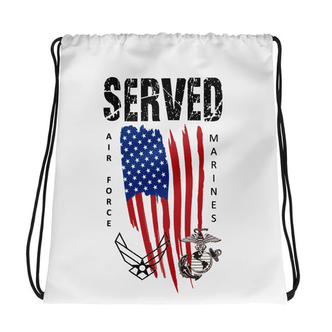 """SERVED MARINES-AIR FORCE"" Drawstring bag"
