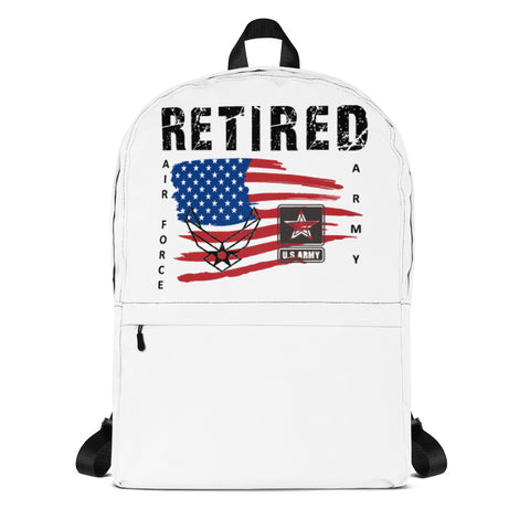 """RETIRED ARMY-AIR FORCE""  Backpack"