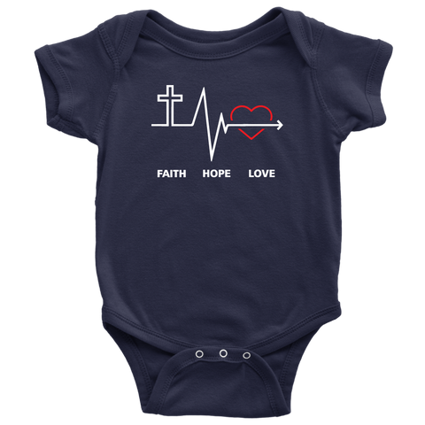 Faith, Hope and Love Baby Bodysuit