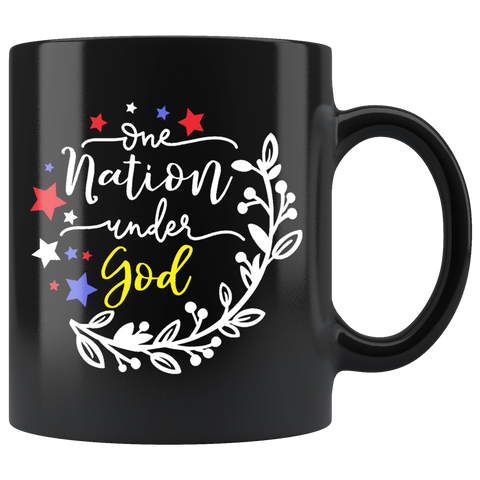 """One Nation Under God"" (Black 11oz Mug)"