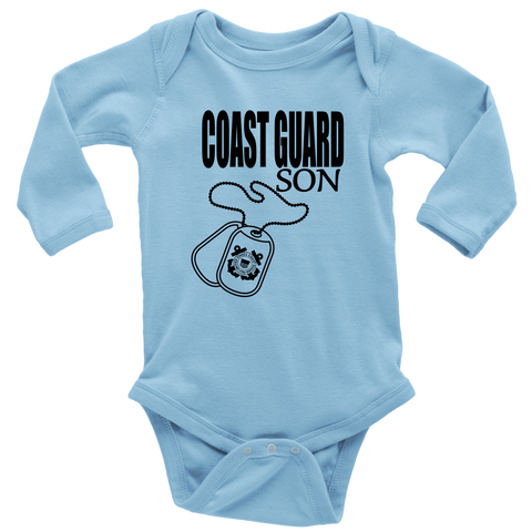 """Coast Guard Son"" (Long Sleeve Baby Bodysuit)"