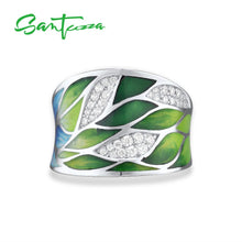 Load image into Gallery viewer, Silver Ring For Women 925 Sterling Silver Green Bamboo leaves Cubic zirconia Handmade Enamel