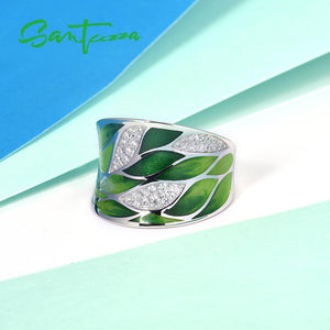 Silver Ring For Women 925 Sterling Silver Green Bamboo leaves Cubic zirconia Handmade Enamel