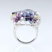 Load image into Gallery viewer, Silver Ring For Women 925 Sterling Silver Brilliant Large Purple Ring Handmade Enamel