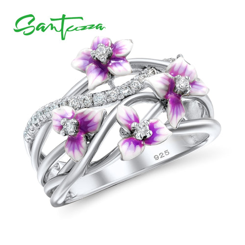 Silver Ring For Women 925 Sterling Silver Delicate Pink Flower Shiny Cubic Zirconia Enamel