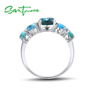 Silver Ring For Women 925 Sterling Silver Shiny Blue Crystal Cubic Zirconia