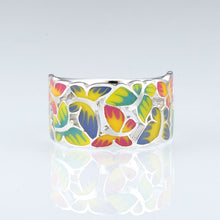 Load image into Gallery viewer, Silver Ring For Women 925 Sterling Silver Butterflies Ring w Cubic Zirconia & Enamel