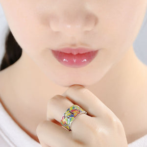 Silver Ring For Women 925 Sterling Silver Butterflies Ring w Cubic Zirconia & Enamel