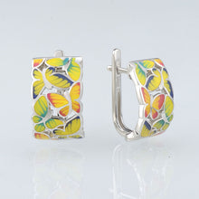 Load image into Gallery viewer, Silver Earrings For Women 925 Sterling Silver Stud butterfly Earrings with Stones Cubic Zirconia Enamel