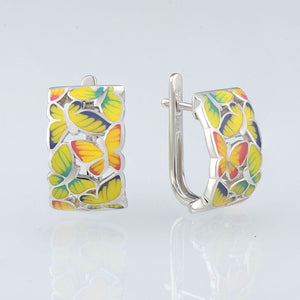 Silver Earrings For Women 925 Sterling Silver Stud butterfly Earrings with Stones Cubic Zirconia Enamel
