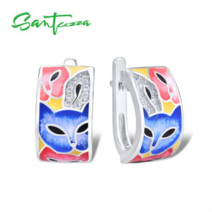 Silver Earrings For Women 925 Sterling Silver with White Cubic Zirconia Handmade Enamel