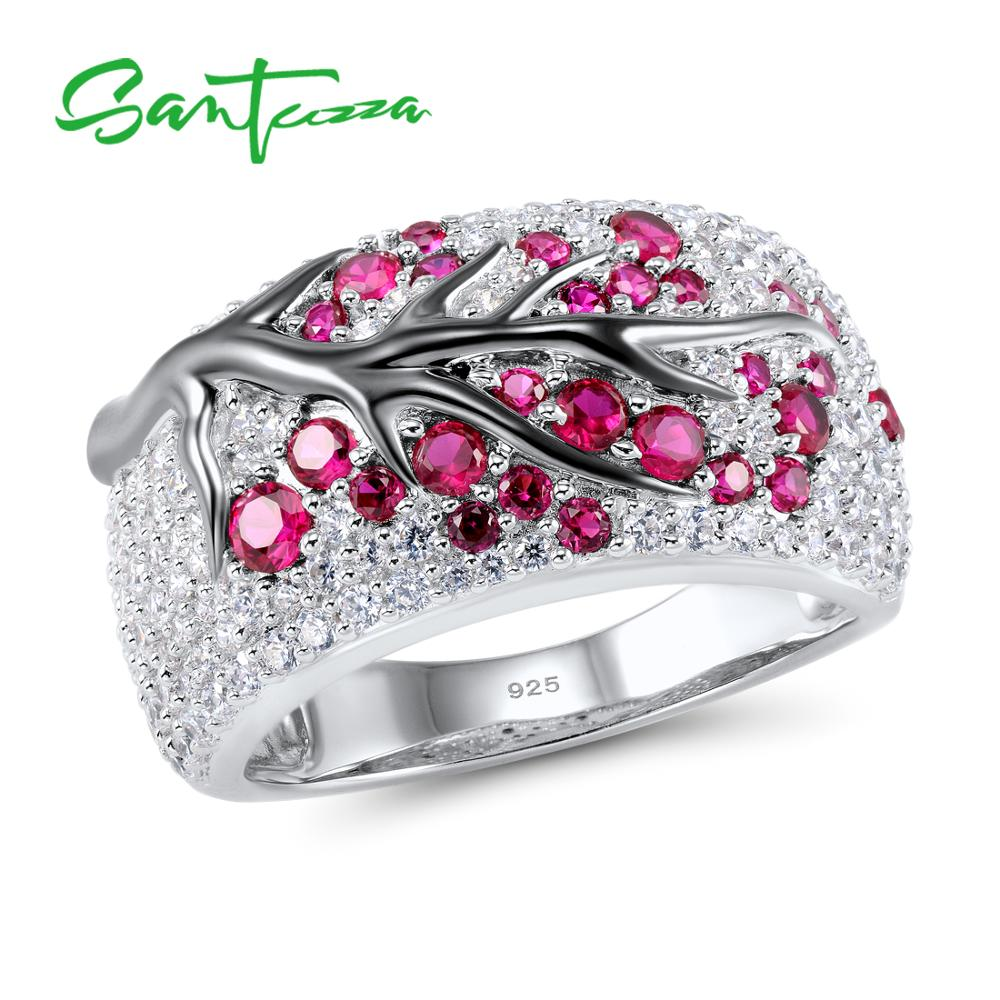 Silver Ring for Women 925 Sterling Silver Pink Cherry Tree Cubic Zirconia