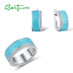 925 Sterling Silver Jewellery Set for Women Blue Enamel Veins Dazzling CZ Earrings & Ring Set