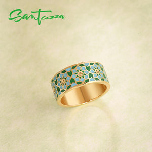 Silver Ring For Women 925 Sterling Silver Gold Colour Handmade Enamel