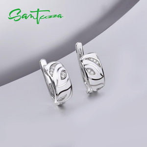Silver Earrings For Women 925 Sterling Silver White Leaves Sparkling Cubic Zirconia