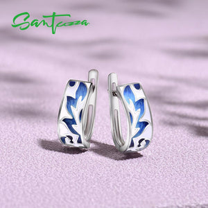 925 Sterling Silver Earrings For Women Silver Blue Leaves Handmade Enamel