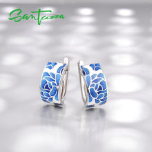 Load image into Gallery viewer, Silver Jewellery Set for Women 925 Sterling Silver Blue Flower Enamel Earrings & Ring Set
