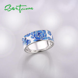 Silver Jewellery Set for Women 925 Sterling Silver Blue Flower Enamel Earrings & Ring Set