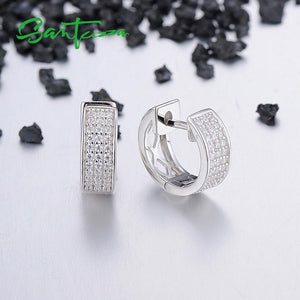 Silver Earrings For Women 925 Sterling Silver White Cubic Zirconia