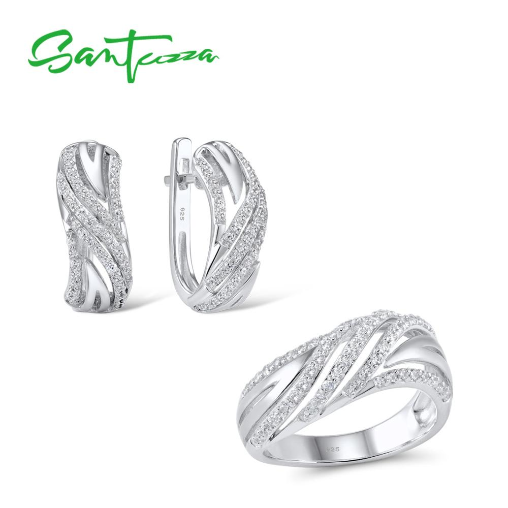 925 Sterling Silver Jewellery Set For Women Sparkling White Cubic Zirconia Ring & Earrings Set
