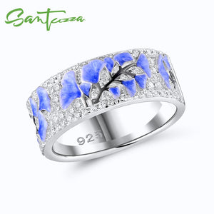 Silver Ring For Women 925 Sterling Silver Elegant Blue Flower Shiny Cubic Zirconia Handmade Enamel