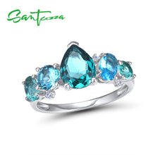 Load image into Gallery viewer, Silver Ring For Women 925 Sterling Silver Shiny Blue Crystal Cubic Zirconia