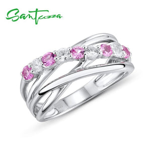 Silver Ring For Women 925 Sterling Silver  Blue / Pink / Green