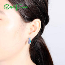 Load image into Gallery viewer, Jewellery Set Handmade Colourful Enamel White CZ Stones Ring & Earrings 925 Sterling Silver