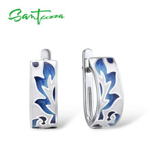 Load image into Gallery viewer, 925 Sterling Silver Earrings For Women Silver Blue Leaves Handmade Enamel