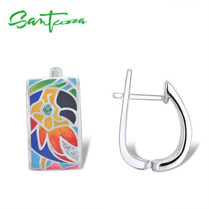 925 Sterling Silver Stud Earrings for Women White Cubic Zirconia Handmade Enamel Parrot
