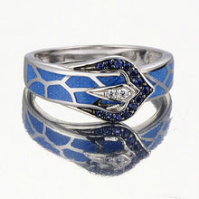 Load image into Gallery viewer, Silver Snake Ring for Women Blue Stone Blue Handmade Enamel  925 Sterling Silver