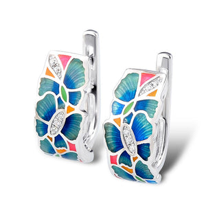 Stud Flower Earrings For Women 925 Sterling Silver with Cubic Zirconia and handmade enamel