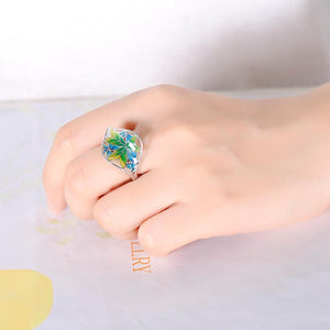 Silver Ring for Women Colourful Transparency  Enamel Leaf Ring White Cubic Zirconia