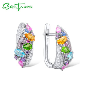 Silver Earrings For Women 925 Sterling Silver Stud Earrings with Colourful Natural Stones