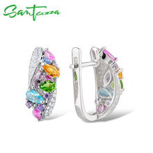 Load image into Gallery viewer, Silver Earrings For Women 925 Sterling Silver Stud Earrings with Colourful Natural Stones