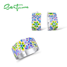 Load image into Gallery viewer, 925 Sterling Silver Set Handmade Colorful Enamel White CZ Stones Flower Ring & Earrings