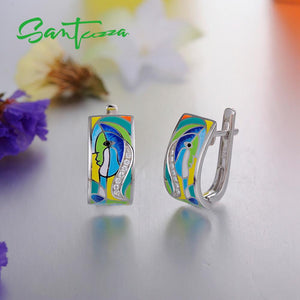 Silver Earrings For Women 925 Sterling Silver Face Earrings White Cubic Zirconia  Stones Enamel Handmade