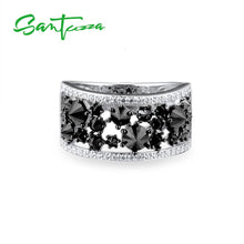 Load image into Gallery viewer, Silver Ring for Women Black spinels Stone Ring AAA Cubic Zirconia Rings 925 Sterling Silver