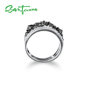 Silver Ring for Women Black spinels Stone Ring AAA Cubic Zirconia Rings 925 Sterling Silver