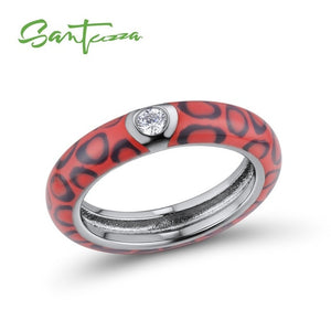 Silver Ring for Women Colourful leopard print 925 Sterling Silver Eternity Ring Enamel Handmade