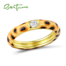 Load image into Gallery viewer, Silver Ring for Women Colourful leopard print 925 Sterling Silver Eternity Ring Enamel Handmade