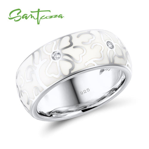 Silver Ring For Women  925 Sterling Silver White Flower Elegant Ring Handmade Enamel