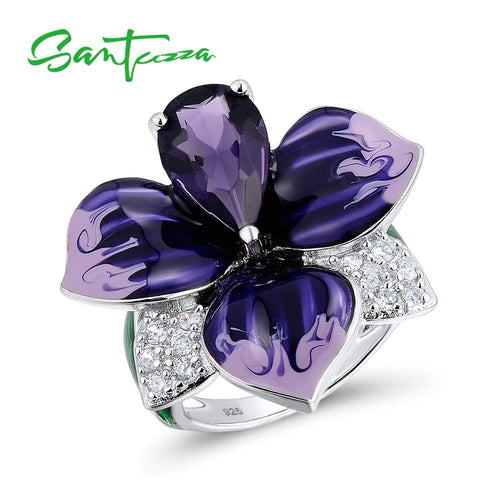 Silver Ring For Women  925 Sterling Silver Charming Big Purple Flower Handmade Enamel