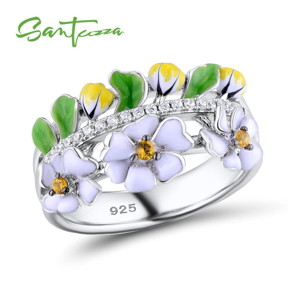 Silver Ring For Women 925 Sterling Silver Vintage Green Leaf White Flower Handmade Enamel