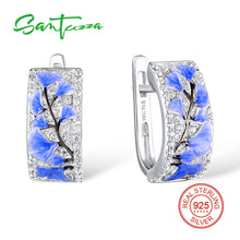 Load image into Gallery viewer, 925 Sterling Silver Jewellery Set For Women Blue Flower Ring & Earrings