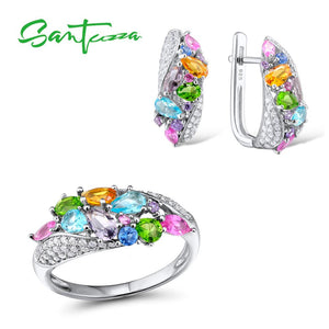 Silver Jewellery Set For Women Multi-Coloured Stones White Cubic Zirconia Earrings / Ring 925 Sterling Silver