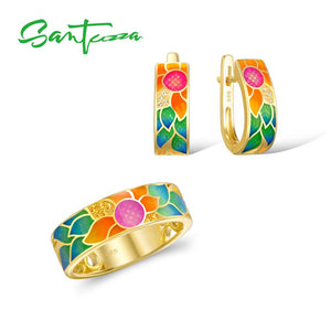 925 Sterling Silver Jewellery Set For Women Enamel Flower Ring & Earrings Set