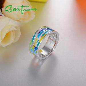 Silver Ring For Women 925 Sterling Silver Shiny White CZ Colourful Enamel