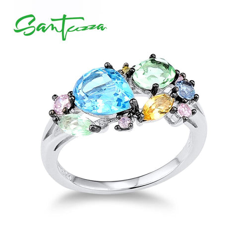 Silver Ring For Women 925 Sterling Silver Shiny Multi-Color Gem Stones